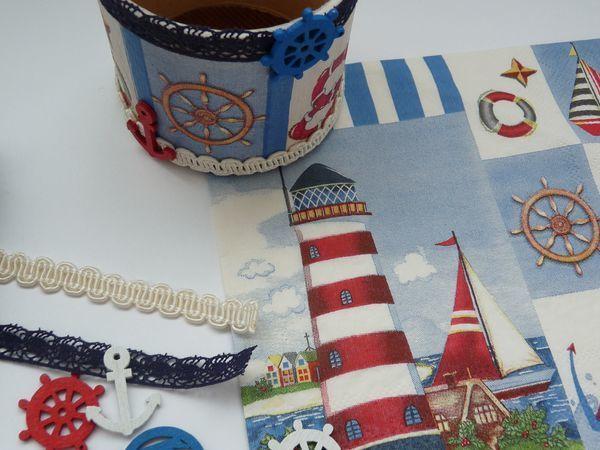 Морская баночка для мелочей, или Как подарить вторую жизнь картонной катушке   Ярмарка Мастеров - ручная работа, handmade