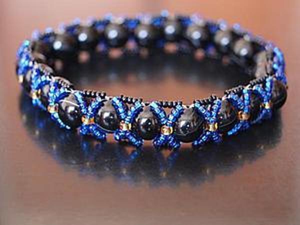 Мастер-класс: браслет плетёный с крупными бусинами   Ярмарка Мастеров - ручная работа, handmade