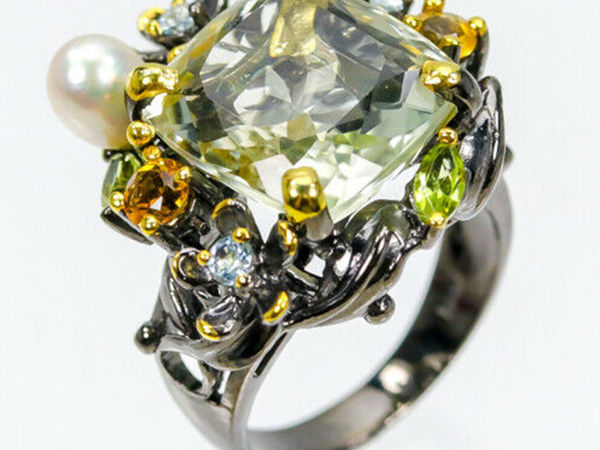 Серебряный перстень с зеленым аметистом   Ярмарка Мастеров - ручная работа, handmade