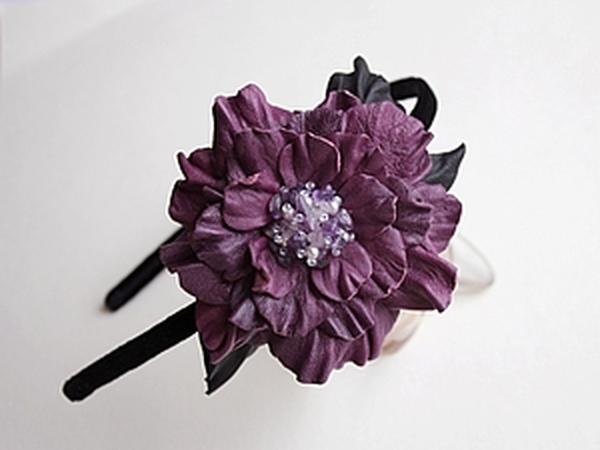 Мастер-класс Бархатный ободок с фиолетовым кожаным цветком.   Ярмарка Мастеров - ручная работа, handmade