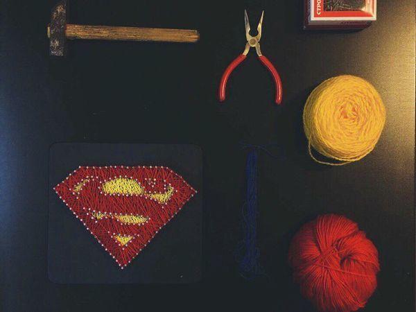 Познаём тонкости String Art на примере эмблемы Супермена | Ярмарка Мастеров - ручная работа, handmade