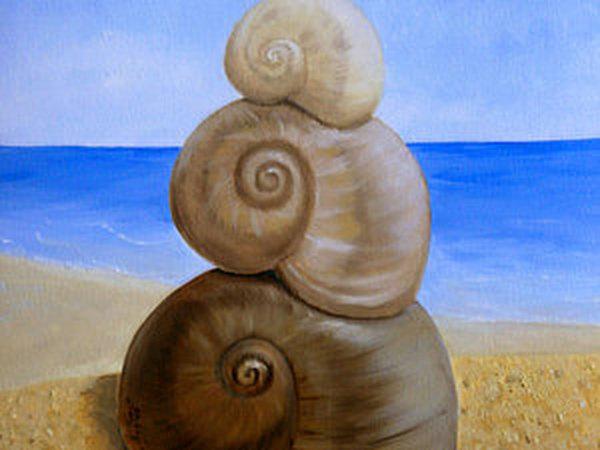Рисуем маслом ракушки на морском берегу. | Ярмарка Мастеров - ручная работа, handmade
