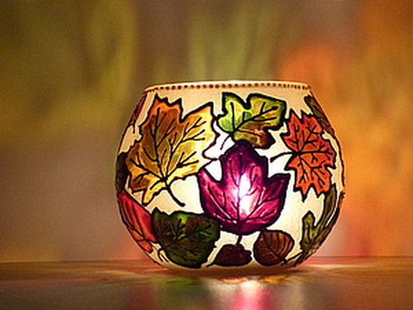 Роспись подсвечника «Осень золотая»   Ярмарка Мастеров - ручная работа, handmade