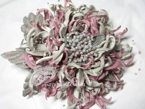 Цветы из шёлка.МК Хризантема | Ярмарка Мастеров - ручная работа, handmade