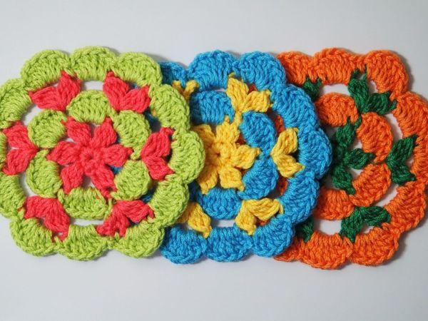 Вяжем крючком цветок-салфетку под горячее   Ярмарка Мастеров - ручная работа, handmade