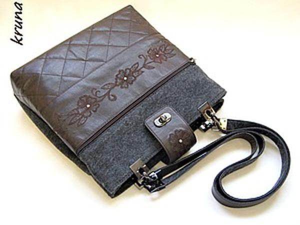 Шьем комбинированную сумку из кожи и фетра. Часть 1 | Ярмарка Мастеров - ручная работа, handmade