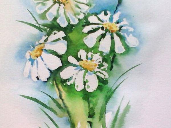 Рисуем ромашки акварелью с добавлением восковых мелков   Ярмарка Мастеров - ручная работа, handmade
