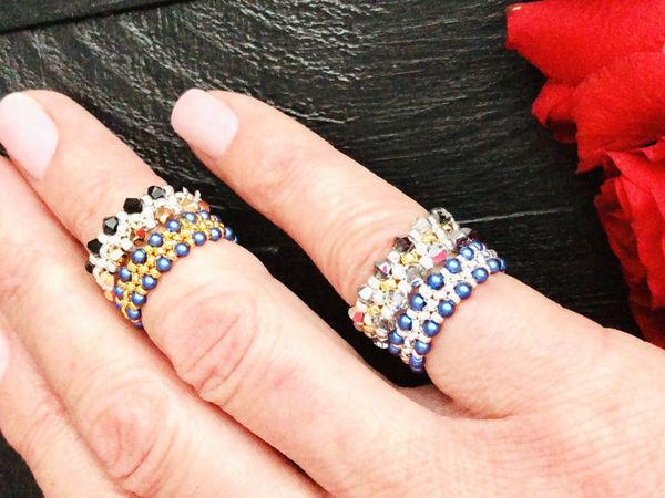Создаем кольца из бисера и кристаллов Swarovski! | Ярмарка Мастеров - ручная работа, handmade