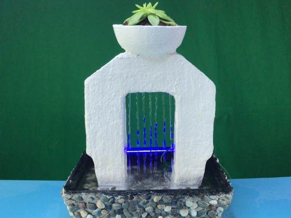 Создаем мини фонтан из цемента с горшком и светодиодной подсветкой!   Ярмарка Мастеров - ручная работа, handmade