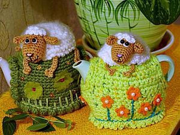 Вяжем грелку на чайник «Овечка на пригорке» | Ярмарка Мастеров - ручная работа, handmade