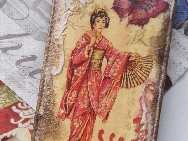 Мастер-класс по декупажу чехла для сотового телефона «Японская гейша»   Ярмарка Мастеров - ручная работа, handmade