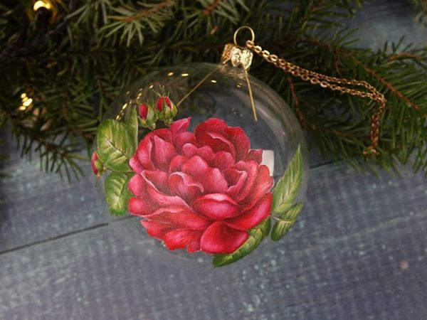 How to Paint a Beautiful Rose on a Transparent Ball. Double-sided Painting on Glass | Livemaster - handmade