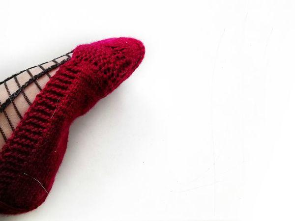 Вяжем тапочки—следки спицами без швов и отрыва нити | Ярмарка Мастеров - ручная работа, handmade
