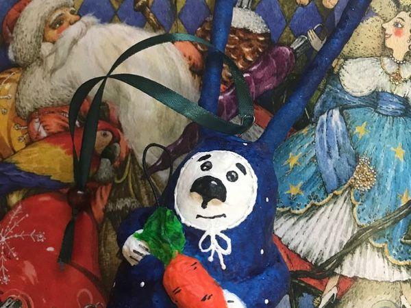 Создаем новогоднего зайку из ваты   Ярмарка Мастеров - ручная работа, handmade