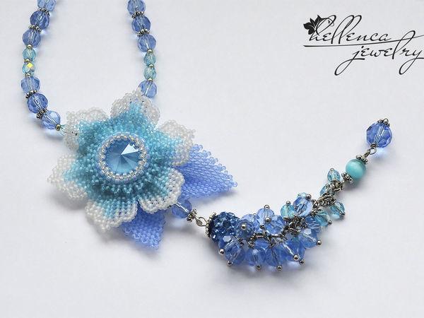 Создаем колье с цветком «Summer Blue» | Ярмарка Мастеров - ручная работа, handmade