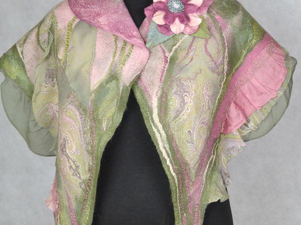 Валяный шарф с шелковыми оборками   Ярмарка Мастеров - ручная работа, handmade