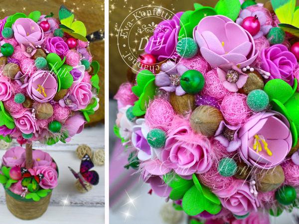 Мастерим розово-зеленый топиарий | Ярмарка Мастеров - ручная работа, handmade
