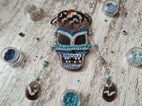 Вышиваем брошь из бисера Индейская маска | Ярмарка Мастеров - ручная работа, handmade