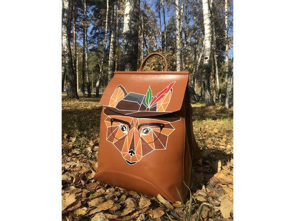 Кожаный рюкзак с ручной росписью - Лис | Ярмарка Мастеров - ручная работа, handmade