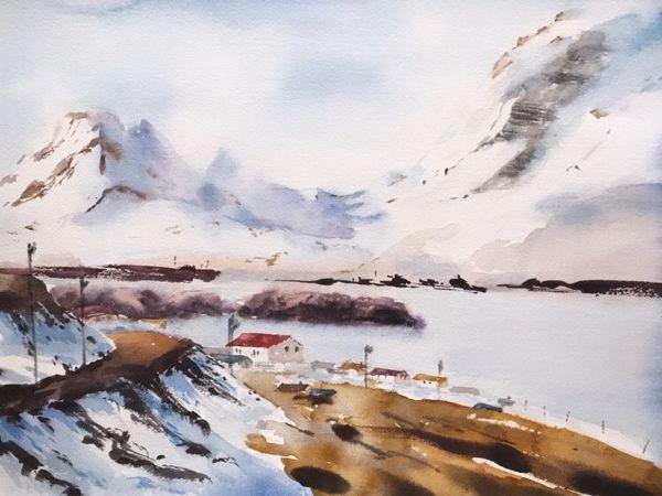 Пишем акварельный пейзаж «Фьорды» | Ярмарка Мастеров - ручная работа, handmade