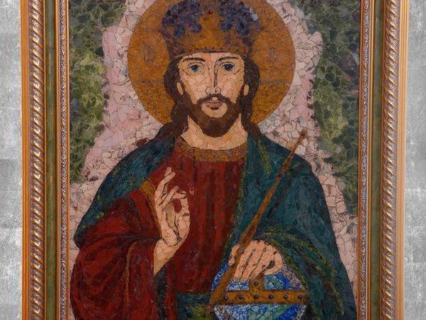 Икона из камня  «Господь Вседержитель» | Ярмарка Мастеров - ручная работа, handmade