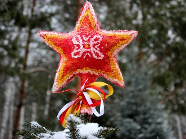 Валяем звезду на макушку ёлки из шерсти | Ярмарка Мастеров - ручная работа, handmade