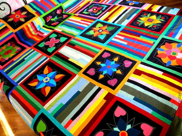 Лоскутное покрывало на кровать  «Философия цвета»  — современный пэчворк в интерьере!! | Ярмарка Мастеров - ручная работа, handmade