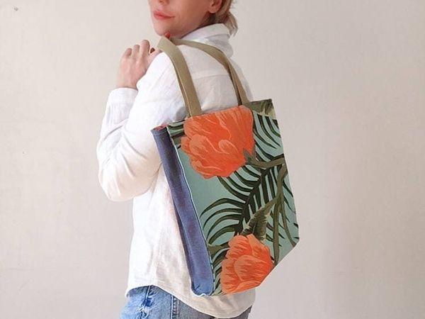 Шьем простую сумку-шоппер с подкладкой   Ярмарка Мастеров - ручная работа, handmade
