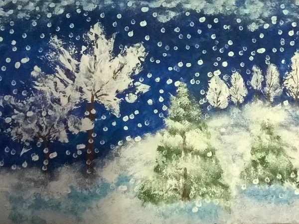 Создаем пейзаж «Зимняя сказка» вместе с детьми | Ярмарка Мастеров - ручная работа, handmade