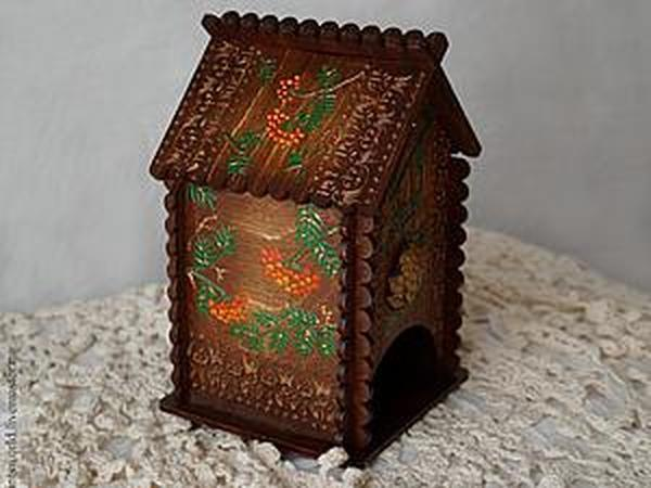 Декорируем домик для чая в лесном стиле с элементами точечной росписи   Ярмарка Мастеров - ручная работа, handmade