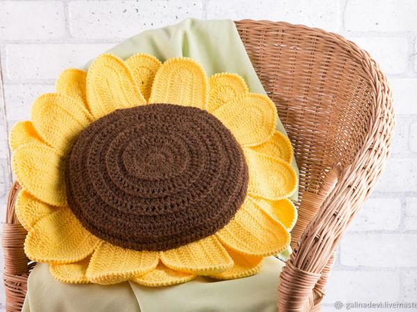 Мастер-класс по вязанию крючком — вяжем подушку  «Подсолнух» | Ярмарка Мастеров - ручная работа, handmade