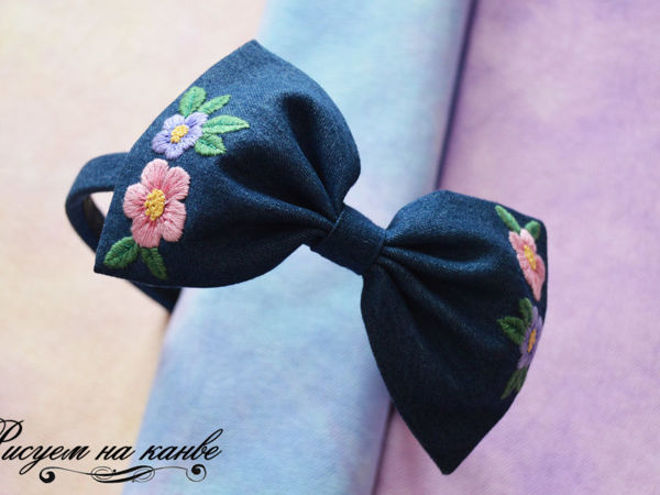 How to Make a Headband with a Bow and Satin Stitch | Livemaster - handmade