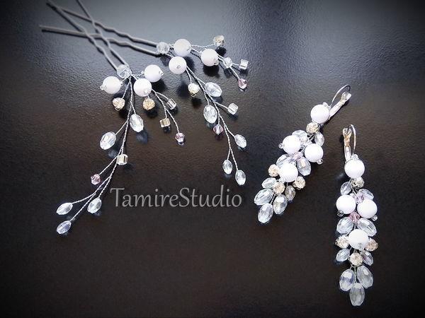 Делаем шпильки и серьги из белых бусин и ювелирной проволоки | Ярмарка Мастеров - ручная работа, handmade