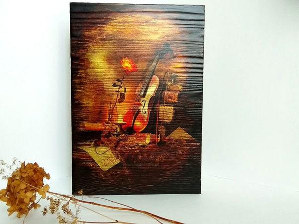 Creating ''Still Life with Violin'' Textured Glowing Panel | Livemaster - handmade