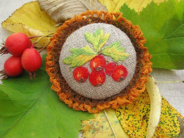 Создаем брошь с вышивкой гладью «Дары осени» | Ярмарка Мастеров - ручная работа, handmade