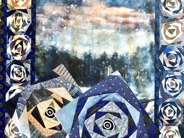 Делаем лоскутное одеяло с панелью и крейзи — «Туман на озере»   Ярмарка Мастеров - ручная работа, handmade