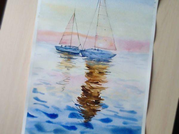 Видео мастер-класс: рисуем акварелью картину «Лодки на закате»   Ярмарка Мастеров - ручная работа, handmade