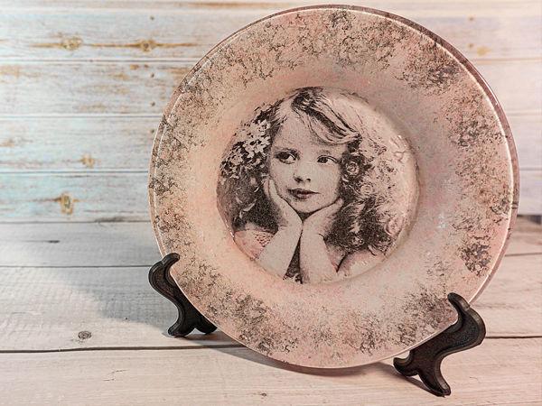 Декорируем стеклянную тарелку. Обратный декупаж | Ярмарка Мастеров - ручная работа, handmade