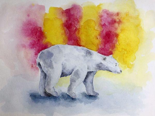 Акварельный рисунок: белый медведь | Ярмарка Мастеров - ручная работа, handmade