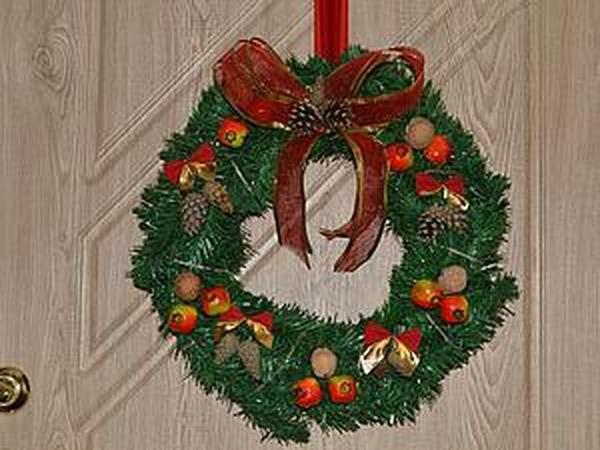 Несложный способ смастерить рождественский венок | Ярмарка Мастеров - ручная работа, handmade