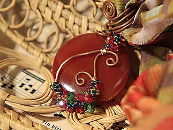 Мастер-класс: оплетаем проволокой круглый кулон | Ярмарка Мастеров - ручная работа, handmade