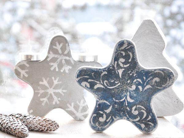Создаём новогодние украшения Снежинку и Ёлочку из бетона | Ярмарка Мастеров - ручная работа, handmade