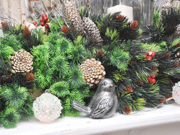 Создаем новогоднюю композицию на камин из искусственных растений   Ярмарка Мастеров - ручная работа, handmade