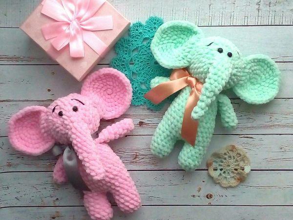 Вяжем зефирного слоника | Ярмарка Мастеров - ручная работа, handmade
