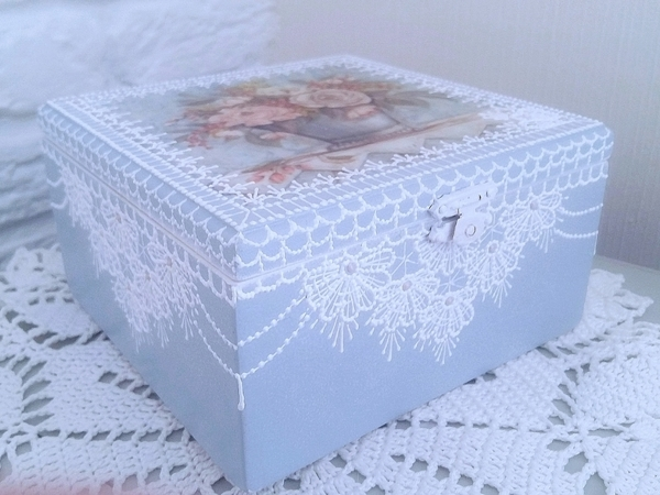 Jewellery Box Decor in Delicate Colors: Decoupage and Lace Painting | Livemaster - handmade