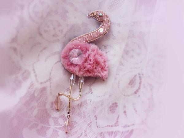 Создаем брошь «Розовый фламинго» из фетра, фатина, бисера и страз | Ярмарка Мастеров - ручная работа, handmade