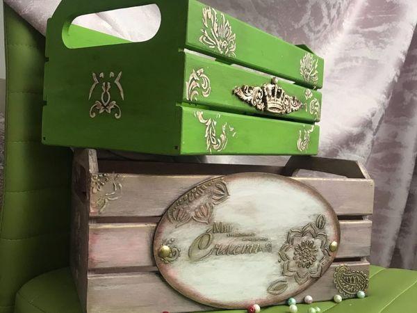 Простой и красивый декор интерьерного ящика своими руками | Ярмарка Мастеров - ручная работа, handmade