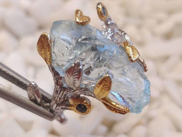 Авторское кольцо с аквамарином | Ярмарка Мастеров - ручная работа, handmade