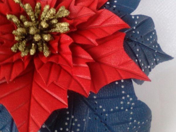 Создаем из кожи брошь «Рождественский цветок. Пуансеттия» | Ярмарка Мастеров - ручная работа, handmade