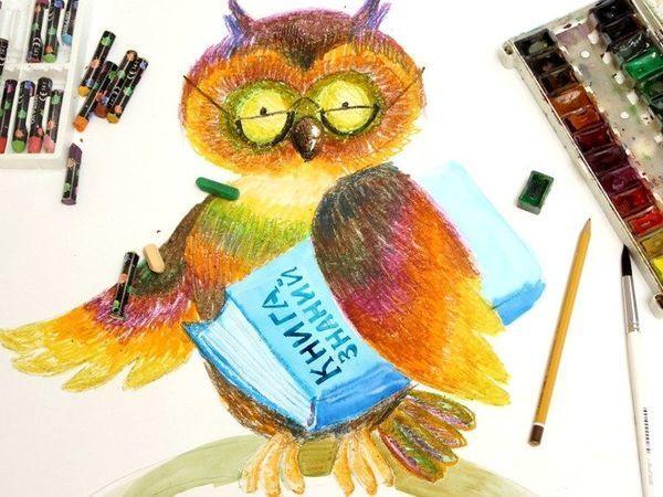Рисуем птиц масляной пастелью. Мудрая Сова   Ярмарка Мастеров - ручная работа, handmade